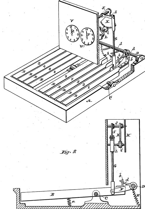 Peter C. Forrester's adding machine (the patent drawing)