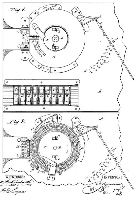 Hergenroeder's adding machine (the patent drawing)