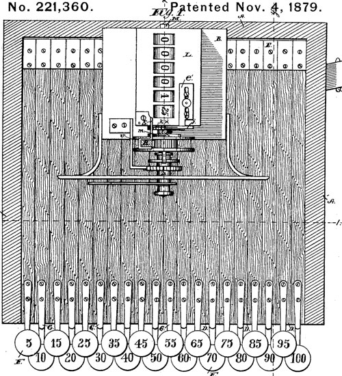 Cash Register and Indicator of Ritty (the patent drawing)