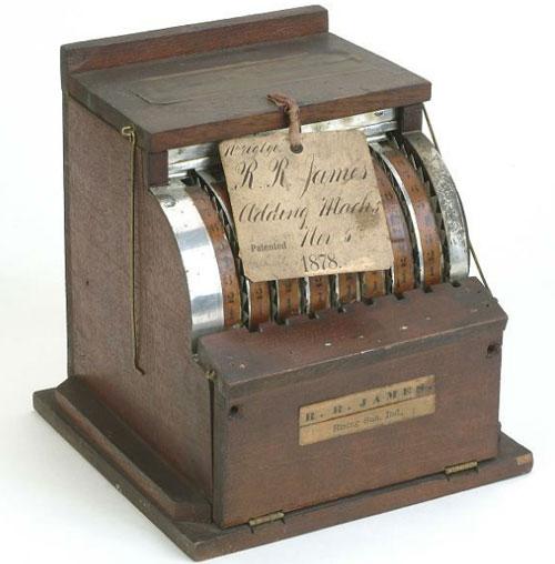 The patent model of Reuben James' adding machine (© Smithsonian National Museum)