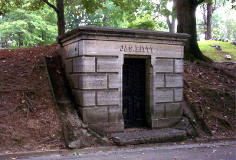 The family vault of James Ritty at Dayton's Woodland Cemetery