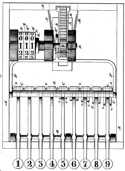 The calculating machine of Walter Snelling (patent drawing)