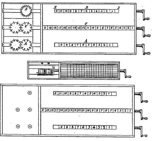 The patent drawing of Leonard Stowe's adding machine