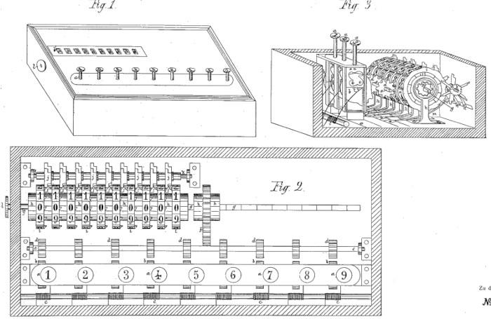 The adding machine of Azevedo Coutinho (patent drawing)