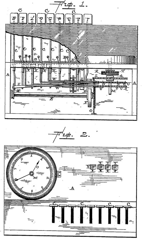 The adding machine of David Marion Rush, the patent drawing