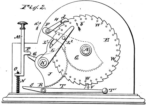 The patent drawing of Albert Stettner US patent No. US277627 (side view)