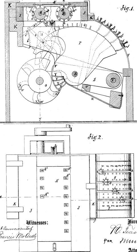 Teasdale's Improved Calculator (US patent Nr. 121687)